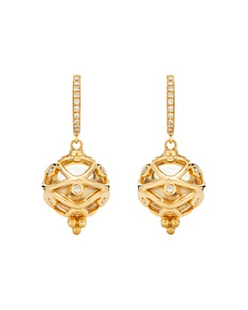 Temple St. Clair - 18K Yellow Gold Theodora Crystal Amulet Drop Earrings with Diamonds