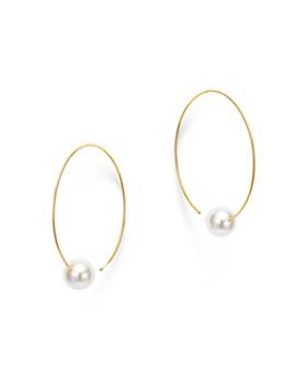 Madhuri Parson - 18K Yellow Gold Pearl Essentials Akoya Slide Hoop Earrings