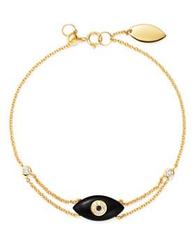 Madhuri Parson - 14K Yellow Gold Diamond Essentials Black Onyx Evil Eye Bracelet