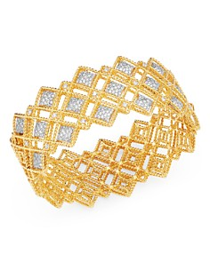 Roberto Coin - 18K Yellow & White Gold Roman Barocco Diamond Bangle Bracelet