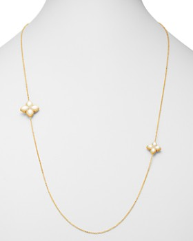 Roberto Coin - 18K Yellow Gold Venetian Princess Diamond & Mother-of-Pearl Station Necklace, 32""