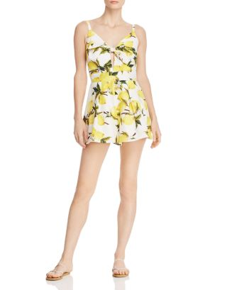 Tie Front Lemon Print Romper   100 Percents Exclusive by Helen Owen X Aqua