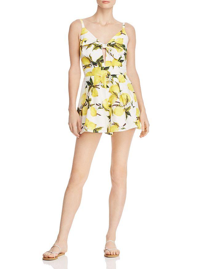 a5042443 AQUA Tie-Front Lemon Print Romper - 100% Exclusive | Bloomingdale's