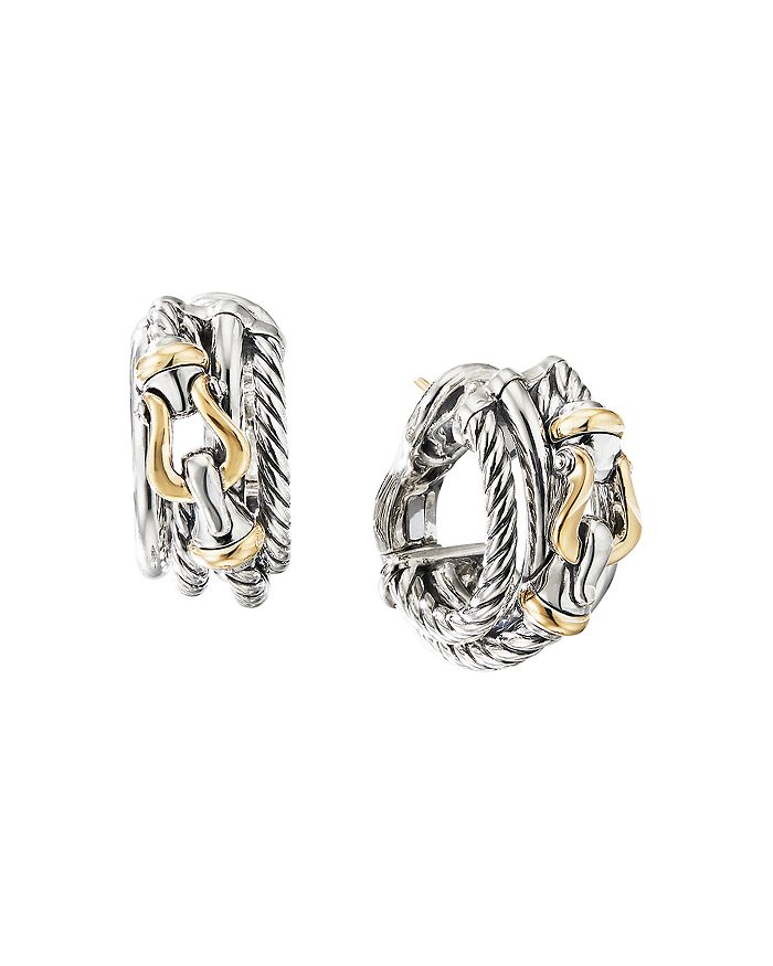 David Yurman - Sterling Silver Buckle Shrimp Earrings with 18K Yellow Gold
