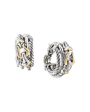 David Yurman Accessories STERLING SILVER BUCKLE SHRIMP EARRINGS WITH 18K YELLOW GOLD