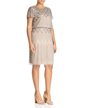 af857868c3 Adrianna Papell Plus - Short-Sleeve Beaded Dress ...