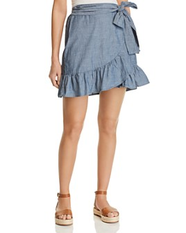 Vero Moda - Cita Organic Cotton Chambray Faux-Wrap Skirt