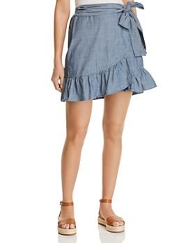 Vero Moda - Cita Organic Cotton Chambray Faux-Wrap Skirt