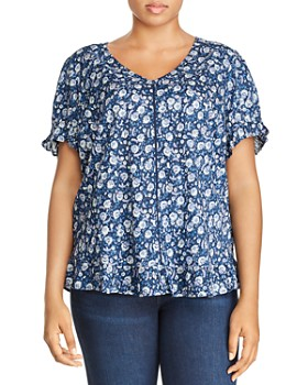2b814d2300 Lucky Brand Plus - Short-Sleeve Floral-Print Top ...