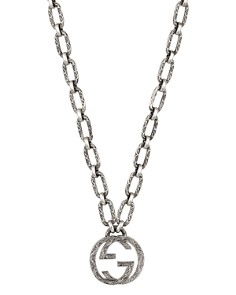 Gucci - Sterling Silver Interlocking G Pendant Necklace, 23.5""