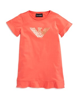 Armani - Girls' Logo & Ruffle T-Shirt Dress - Little Kid, Big Kid