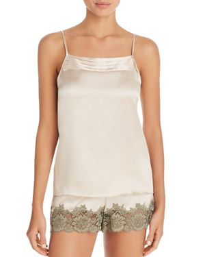 GINIA | Ginia Pleat Square-Cut Silk Cami | Goxip