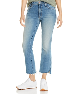 Mother Jeans INSIDER STEP-HEM CROPPED FLARED JEANS IN SHOOT TO THRILL