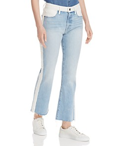 FRAME - Le Color-Block Cropped Mini Boot Jeans in Olin