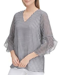 Calvin Klein - Bell-Sleeve Gingham Top