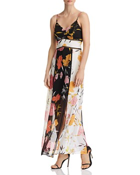 GUESS - Celora Floral-Print Color-Block Maxi Dress
