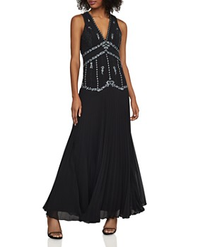 411c9de528 BCBGMAXAZRIA - Embroidered Pleated Chiffon Gown ...