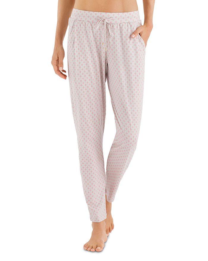 Hanro Sleep & Lounge Printed Knit Long Pants In Minimal Blush