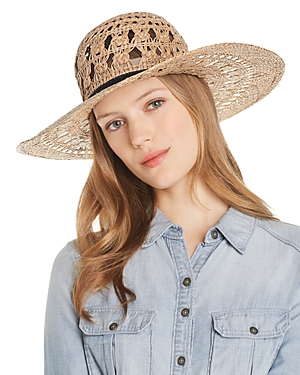 Aqua Macrame Straw Sun Hat - 100% Exclusive