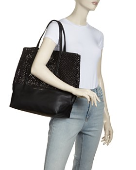 Alice.D - Large Leather & Raffia Tote