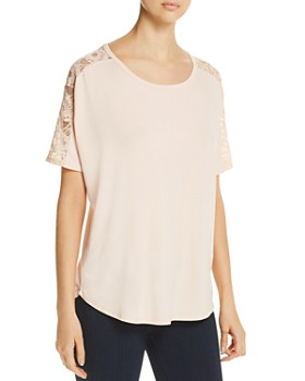 Avec - Short-Sleeve Lace-Trim Top