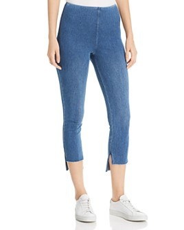 Lyssé - Step-Hem Cropped Denim Leggings in Mid Wash