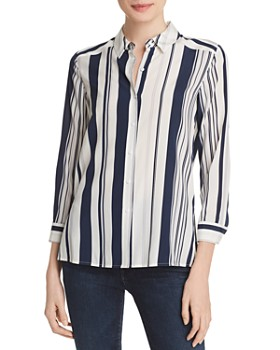 Relative Pi - Striped Silk Blouse