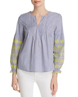 Design History - Striped Embroidered Top