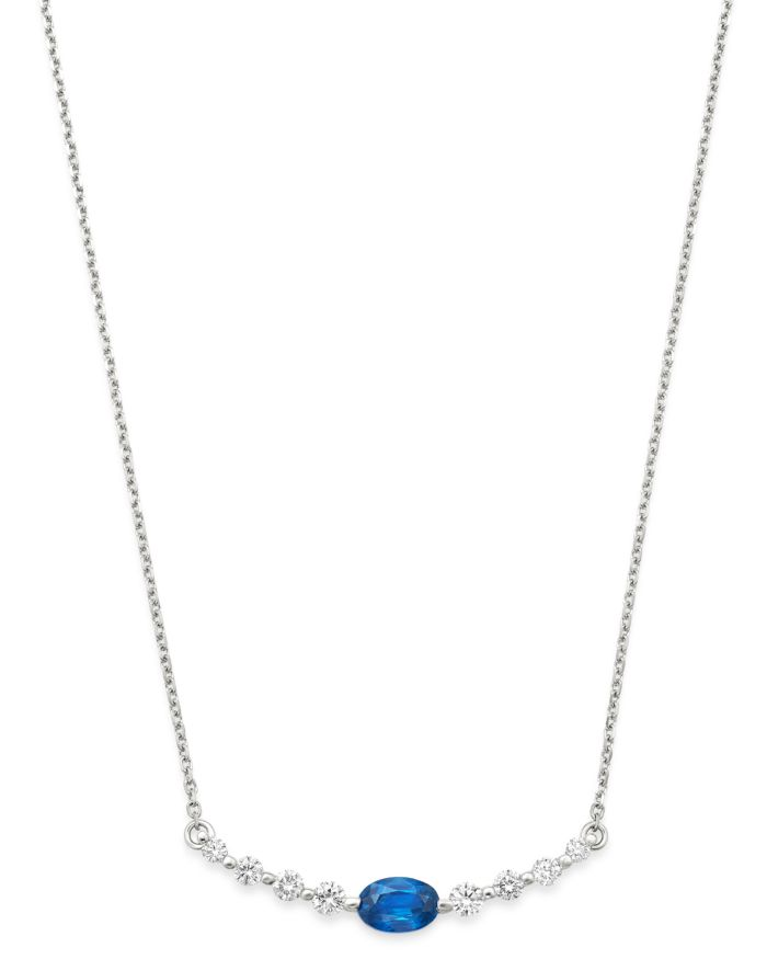 """Bloomingdale's Blue Sapphire & Diamond Bar Necklace in 14K White Gold, 16"""" - 100% Exclusive  