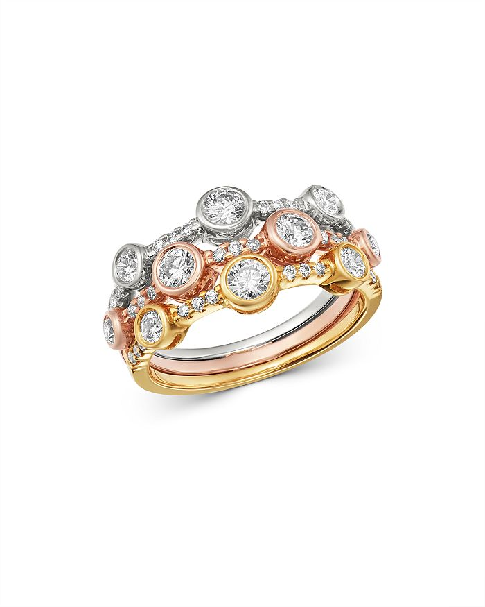 Bloomingdale's - Diamond Bezel-Set Band in Tri-Color 14K Gold, 0.95 ct. t.w. - 100% Exclusive