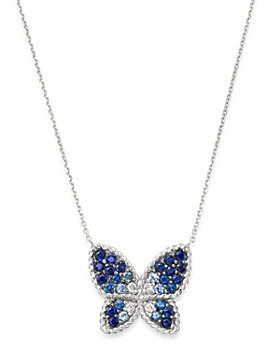 "Bloomingdale's - Blue Sapphire & Diamond Butterfly Necklace in 14K White Gold, 16"" - 100% Exclusive"