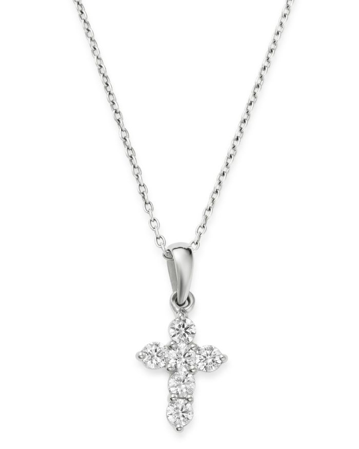 Bloomingdale's Diamond Mini Cross Pendant Necklace in 14K White Gold, 0.25 ct. t.w. - 100% Exclusive  | Bloomingdale's
