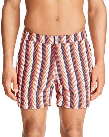 Onia - Calder Geometric-Striped Swim Trunks