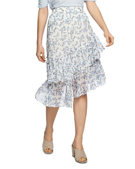 1.STATE - Floral-Print Tiered Asymmetric Skirt