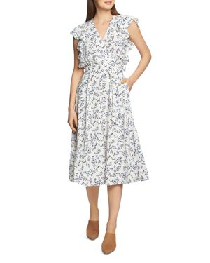 Image of 1.state Blossom Cluster Printed Midi Dress
