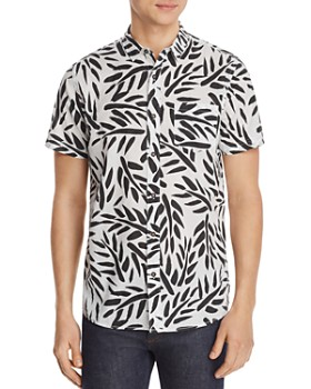 Banks Journal - Short-Sleeve Leaf-Print Slim Fit Shirt