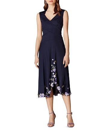 KAREN MILLEN - Floral-Hem Midi Dress