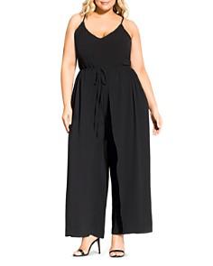City Chic Plus - Untamed Sleeveless Waist-Overlay Jumpsuit