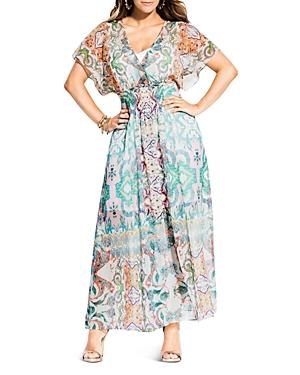 City Chic Plus Casablanca Printed Maxi Dress