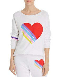AQUA - Striped-Heart Sweatshirt - 100% Exclusive