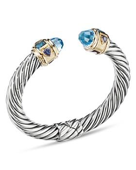 4c00a3a7a2af David Yurman - Sterling Silver   14K Yellow Gold Renaissance Bracelet with  Blue Topaz ...