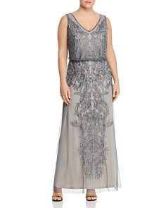 Adrianna Papell Plus - Sleeveless Beaded Gown