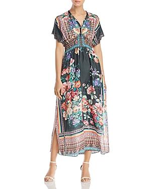 Johnny Was Brenda Silk Floral Maxi Dress