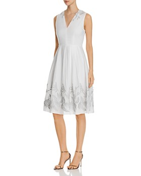 4fd662abd9b Elie Tahari - Astrid Fit-and-Flare Appliqué Dress ...