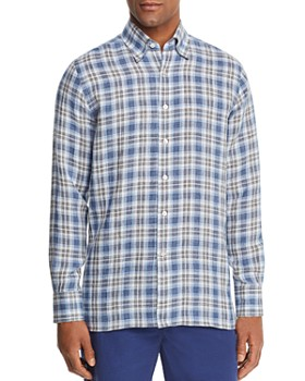 Canali - Plaid Linen Regular Fit Sport Shirt