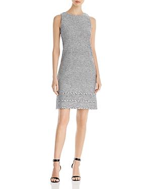 St. John Crepe Tweed Knit-Trim Dress