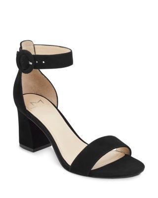black suede high heel sandals