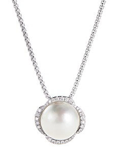 David Yurman - Sterling Silver Continuance Pearl Pendant Necklace with Diamonds, 18""