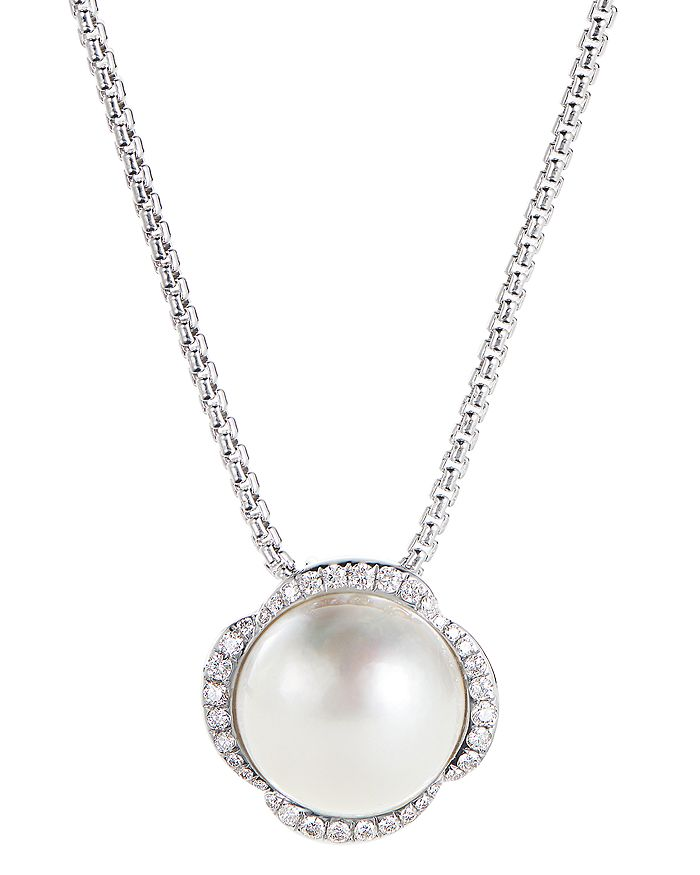 """David Yurman - Sterling Silver Continuance Pearl Pendant Necklace with Diamonds, 18"""""""
