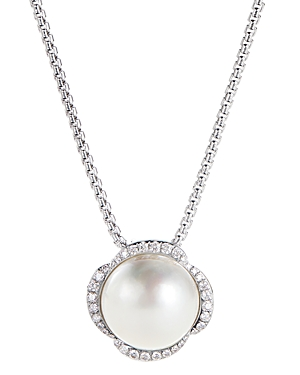 David Yurman Accessories STERLING SILVER CONTINUANCE PEARL PENDANT NECKLACE WITH DIAMONDS, 18